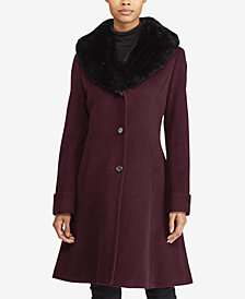 Lauren Ralph Lauren Faux-Fur-Collar Walker Coat