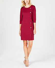 NY Collection Petite Button-Trim Sheath Dress
