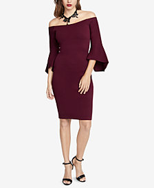 RACHEL Rachel Roy Off-The-Shoulder Bell-Sleeve Sweater Dress