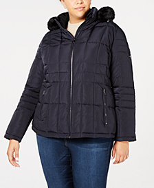 Calvin Klein Plus Size Faux-Fur-Trim Puffer Coat