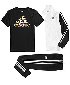 adidas Big Boys Tricot Jacket, Logo-Print T-Shirt & Jogger Pants