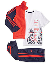adidas Little Boys Tricot Jacket, Sports-Print T-Shirt & Tricot Jogger Pants