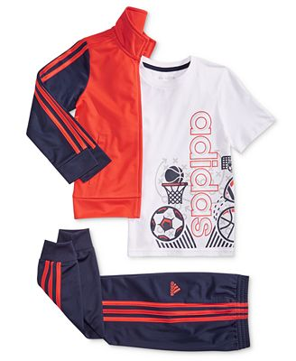 Adidas Toddler Boys Tricot Jacket Sports Print T Shirt Tricot