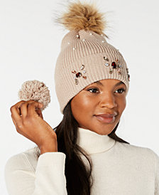 Echo Embellished Beanie with Pom Pom, Created for Macy's