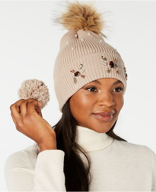 6177ced28 Echo Embellished Beanie with Pom Pom, Created for Macy's ...