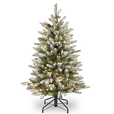 National Tree 4 .5' Dunhill® Fir Tree with Snow, Red Berries, Cones & 450 Clear Lights