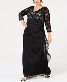 Betsy & Adam Plus-Size Ruched Lace-Contrast Gown