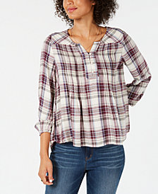 Style & Co Plaid Pintucked Peasant Top, Created for Macy's