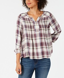 Style & Co Petite Plaid Pleated Top, Created for Macy's