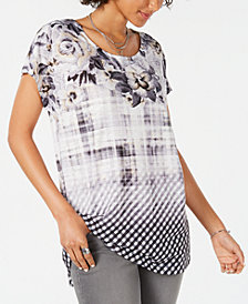 Style & Co Patchwork Batik Print Dolman-Sleeve Top, Created for Macy's