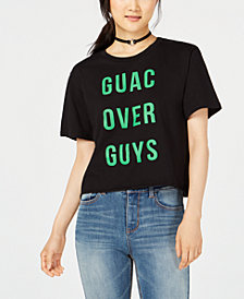Rebellious One Juniors' Guac Over Guys Crop Graphic T-Shirt