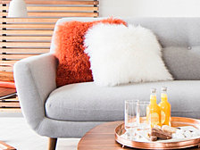 Lamb Fur Pillow, Orange