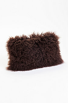 Lamb Fur Pillow, Dark Brown