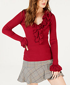Trina Turk Ribbed Ruffle-Trim V-Neck Sweater