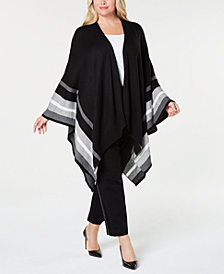 Calvin Klein Plus Size Striped Open-Front Poncho