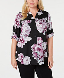 Calvin Klein Plus Size Printed Button-Front Shirt