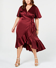 Soprano Trendy Plus Size Flounce Wrap Dress