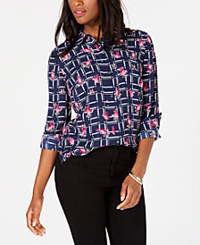 Charter Club Plaid Floral-Print Blouse, Created for Macy's