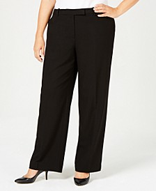 Petite Plus Size Tab-Waist Pants