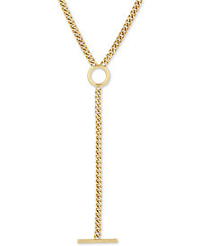 "Lucky Brand Gold-Tone Circle & Bar 23"" Lariat Necklace"