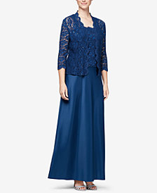 Alex Evenings Lace Jacket & Satin Gown