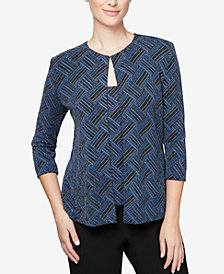 Alex Evenings Petite Metallic Printed Shell and Jacket Set