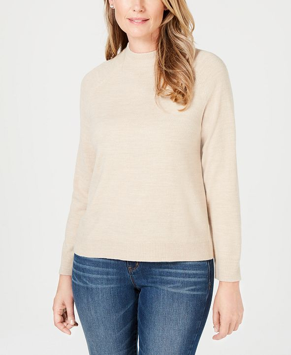 Karen Scott Luxsoft Zip-Back Mock-Neck Sweater, Created for Macy's