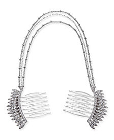I.N.C. Silver-Tone Crystal Comb Triple-Layer Drape Hair Clip, Created for Macy's