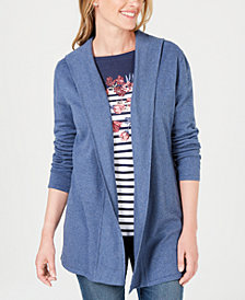 Karen Scott Hooded Open-Front Cardigan, Created for Macy's
