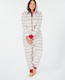 Matching Family Pajamas Plus Size Women's Winter Fairisle Hooded Onesie, Created for Macy's