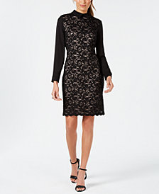 Ivanka Trump Collared Glitter Lace Sheath Dress