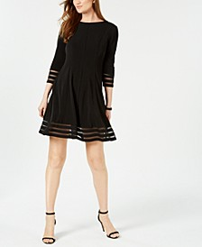 Petite Shadow-Stripe Fit & Flare Dress