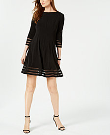 Jessica Howard Petite Shadow-Stripe Fit & Flare Dress