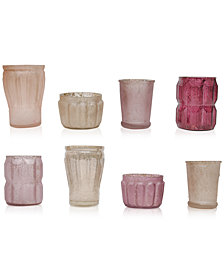 Mercury Pink Glass Tealight Holders, Set of 8