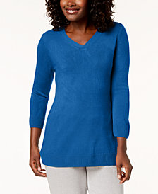 Karen Scott Petite Luxsoft V-Neck Sweater, Created for Macy's