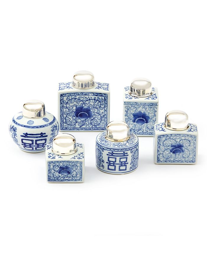 Two's Company - Canton Collection Set of 6 Tea Jars with NickelPlated Lid