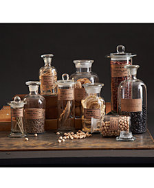 Botany Set of 9 Apothecary Jars with Antiqued Labels Includes - 3 Long Neck Bottles, 3 Wide Mouth Bottles, 3 Cylinder Bottles
