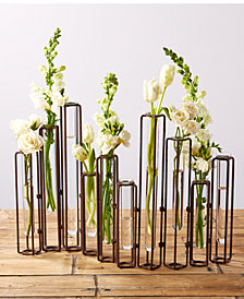 Lavoisier Set of 10 Hinged Flower Vases with Antiqued Rusted Finish