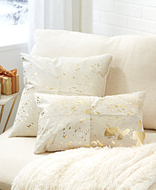 Golden Natural Cowhide Set of 2 White Decorative Pillows Includes Square and Rectangle