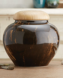 Tortoise Pattern Covered Jar with Wooden Lid