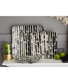 Brush Strokes Set of 3 Square Black and White Decorative Trays