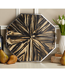 Natural Palette Faux Petrified Wood Decorative Hexagon Tray