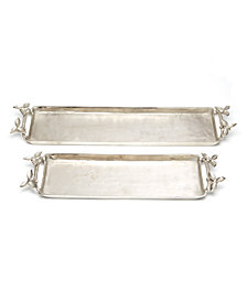 Set of 2 Silver Trays with Leaf Detailed Handles Includes 2 Sizes