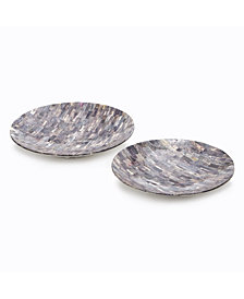 Set of 2 Grey Mosaic Round Decorative Platters