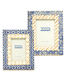 Patterns Set of 2 Blue, Beige Patterned Photo Frames Includes 2 sizes