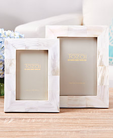 Pearly White Set of 2 Photo Frames in Gift Box Includes 2 Sizes