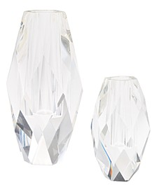 Oval Faceted Vases - Set of 2