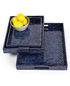 Midnight Blue Set of 3 Shimmering Gallery Trays with Herringbone Pattern