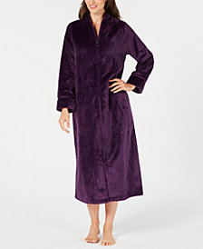 Charter Club Dimple-Textured Long Zip Robe, Created for Macy's