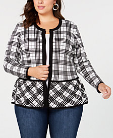 Belldini Plus Size Plaid Peplum-Hem Cardigan